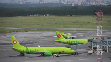 crew : 7 airlines taxiing at Novosibirsk Tolmachevo Airport. June 20, 2017 in Novosibirsk Russia