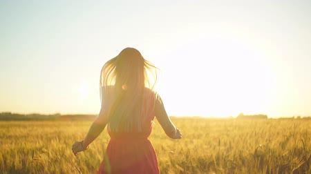 braid hair : A girl in a red dress runs across the field at sunset