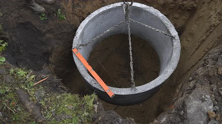 septic : Septic system instalation in rural area Stock Footage