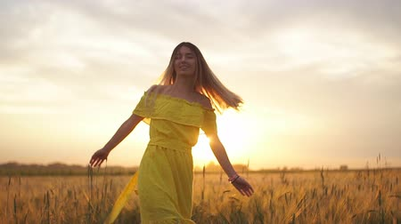 Young beautiful girl in red dress in the field at sunset. Slow motion Dostupné videozáznamy