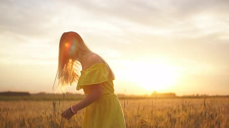 Young beautiful girl in red dress in the field at sunset. Slow motion Stok Video