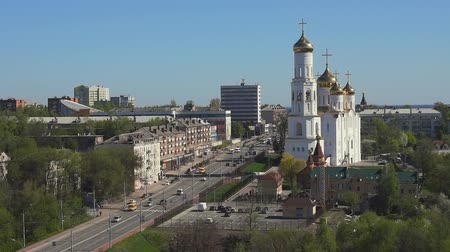 ruský : BRYANSK city, Russia: Landscape view of Lenin avenue and Bryansk Cathedral.