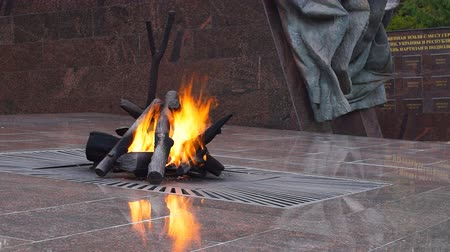 natural world : Eternal flame at the memorial Partisan glade in Bryansk region, Russia, closeup