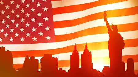 статуя : Animated background of NYC with American flag on background in sunset time.