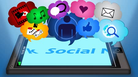 rede social : Nice animation of pop up bubbles with different icons from screen of mobile phone