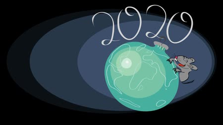 introduction video : video footage with a rocking decoration in the shape of the earth and a rodent on it . 2020 year of the rat