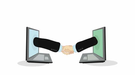 Video footage  hands of two people emerging from laptop screens are connected in a handshake. Successful deal via Internet