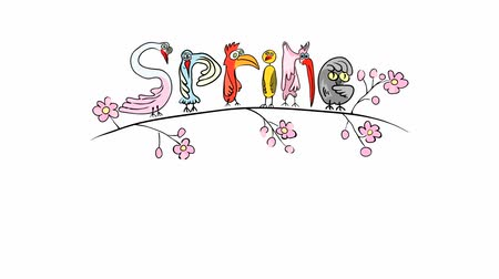 jardim : graphic animation exotic birds that bounce on a blossoming cherry branch . spring funny rain of petals