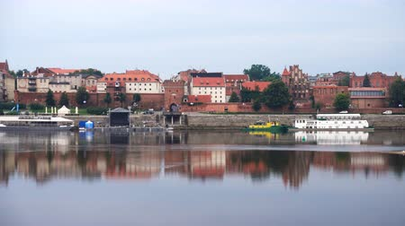 wisla : panorama view of Torun town at the Wistula river bank Stock Footage