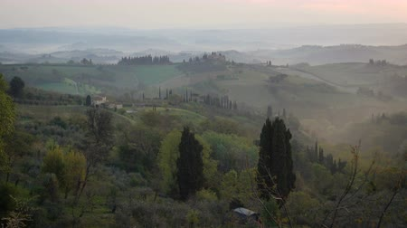 toscana : morning panorama of Toscana Stock Footage