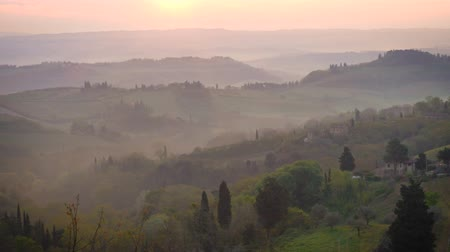 toszkána : morning panorama of Toscana Stock mozgókép