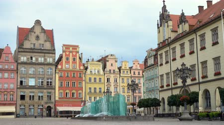 eski şehir : main square Rynek of Wroclaw Stok Video