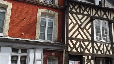 honfleur : french colombage houses Stock Footage
