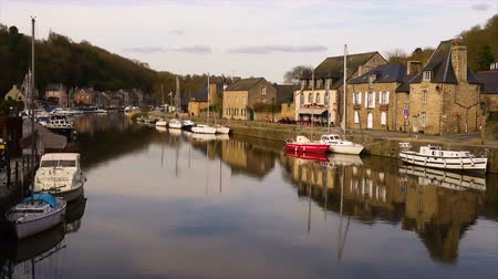 cobbles : view of the port of Dinan, River Rance, Brittany, France