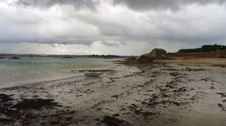 brittany : empty sandy beaches of Brittany during low tide