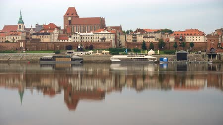 wisla : Torun old town panorama over Vistula river at sunrise time, Poland Stock Footage