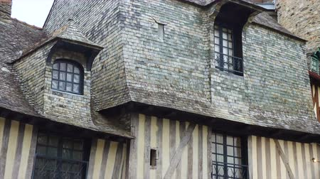 bretagne : front view of french colombage houses Stock mozgókép