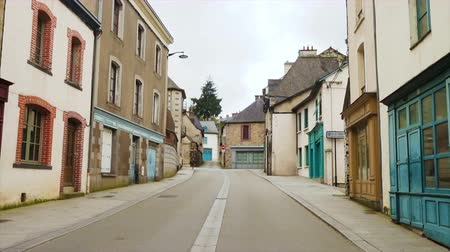 empty street of small breton town Vitre, Brittany Stock Footage