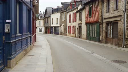 homeopático : empty street of small breton town Vitre, Brittany Stock Footage