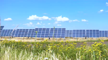 gyűjtő : solar panels at the field at the hot sunny day with the blue sky at the background