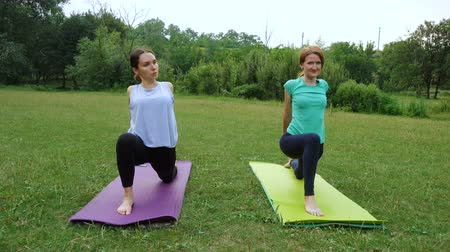 two girls practicing yoga exercises outdoors