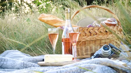 grape basket : picnic basket with the food and bottle of wine on a grass at the field