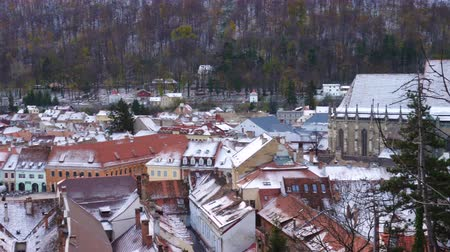 városháza : view of romanian medieval town Brasov from the viewpoint