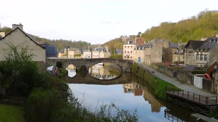 half timbered houses : view of the port of Dinan, River Rance, Brittany, France