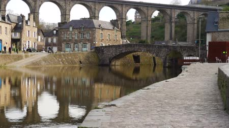 yolları : view of the port of Dinan, River Rance, Brittany, France