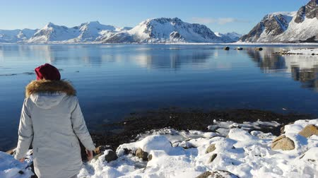 Скандинавия : girl taking a photo of sunny winter fjord at Lofoten archipelago at the nothern Norway with her smartphone