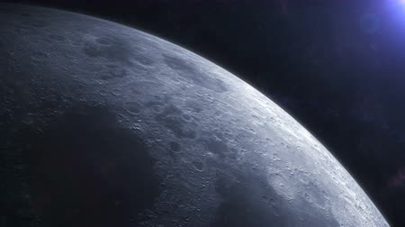 satelite : Moon seen from space. Two shots included. Orbiting the moon and overhead view. Wideo