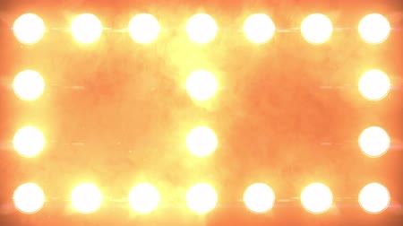 pontão : Orange flashing Lights Wall close up with smoke and particles. Looped Animation. Stage lights. Close-up. VJ Floodlight Lights Flashing Wall. Shiny lights turning on and off. Stock Footage