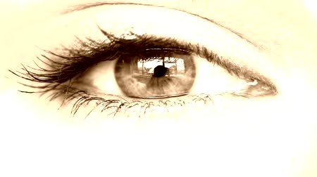 olhos verdes : womens eye close-up sepia