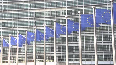 unie : slowmotion EU flags Brussels