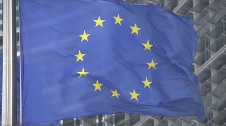 avrupa birliği : slowmotion EU flag Brussels Stok Video