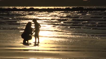 sarılmak : Mum and son seaside hug silhouette Stok Video