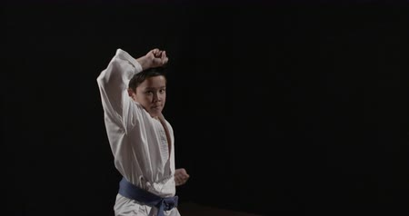 bloklar : karate kid high block towards camera Stok Video