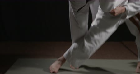 sztuki walki : Judo throw technique  handheld camera  slow motion on black