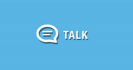 Flat animated motion graphic drop down icon of talk communication in two style Stock Footage
