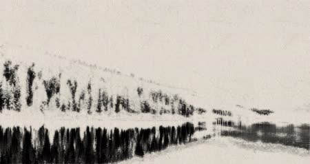 Chinese retro style ink wash abstract mountain lake landscape background