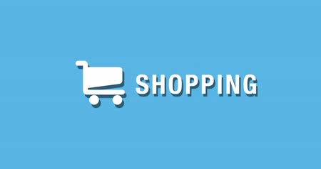 Flat animated motion graphic drop down icon of shopping cart in two style Stock Footage