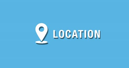 Flat animated motion graphic drop down icon of location in two style