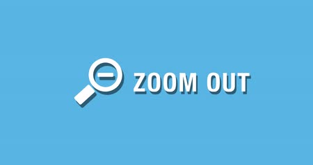 Flat animated motion graphic drop down icon of zoom out in two style