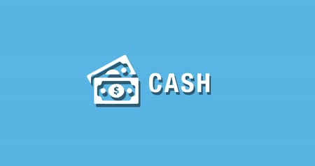 Flat animated motion graphic drop down icon of cash money in two style