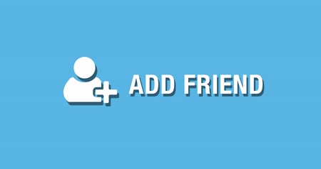 Flat animated motion graphic drop down icon of add friend in two style