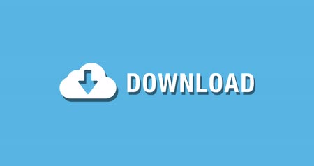 Flat animated motion graphic drop down icon of cloud download in two style