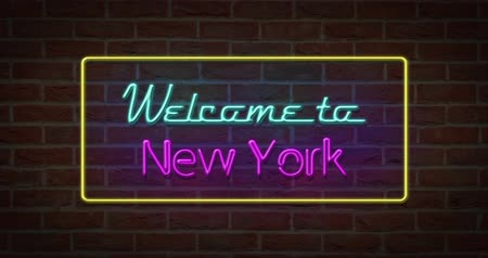 strojopis : Neon text sign of Welcome to New York in brick background
