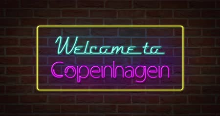 copenhagen : Neon text sign of Welcome to Copenhagen in brick background