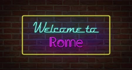 roma : Neon text sign of Welcome to Rome in brick background