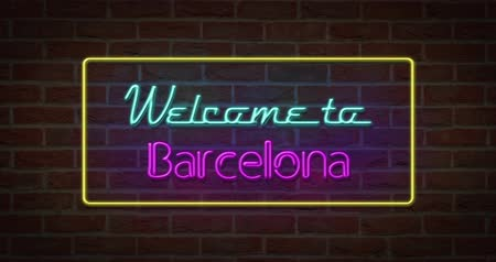 üdvözlet : Neon text sign of Welcome to Barcelona in brick background Stock mozgókép